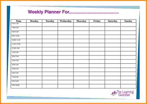 planner template free doc 746530 7 weekly planner template with times