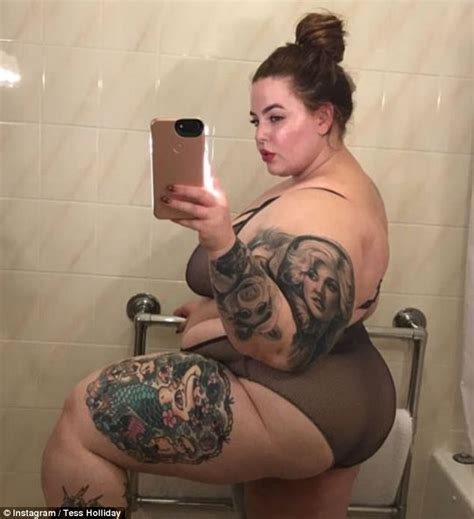new tattoo in hot tub tess holliday shows off a new tattoo after posing in a bra