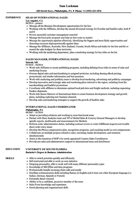 sle of international resume international sales resume sles velvet