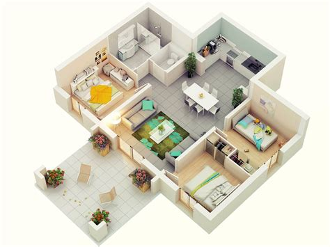three bedrooms free 3 bedrooms house design and lay out