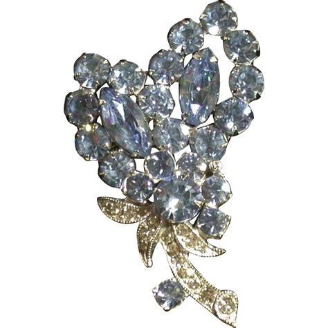 Ck Ruby Set 3in1 K eisenberg vintage blue clear rhinestone pin floral from ckantiques on ruby