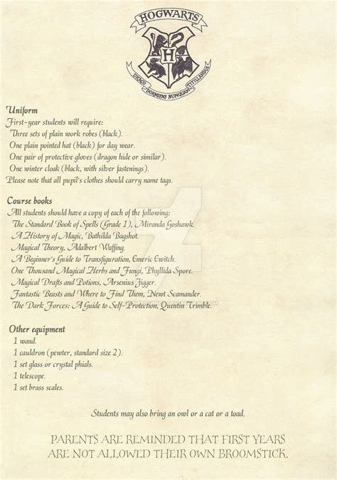 Acceptance Letter For Equipment Hogwarts Acceptance Letter 2 2 Option 2 By Desiredwings On Deviantart