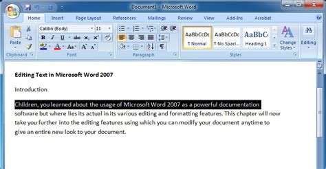 Office Word Editor Editing Text In Microsoft Word 2007 Microsoft Word