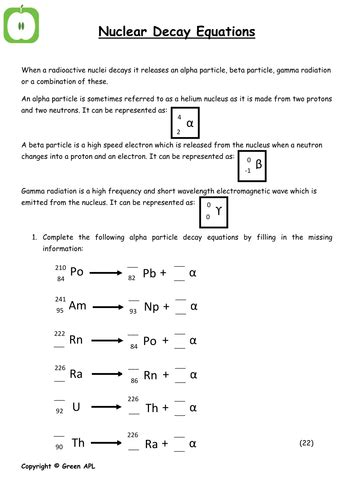Nuclear Decay Worksheet by Nuclear Decay Equations By Greenapl Teaching Resources Tes