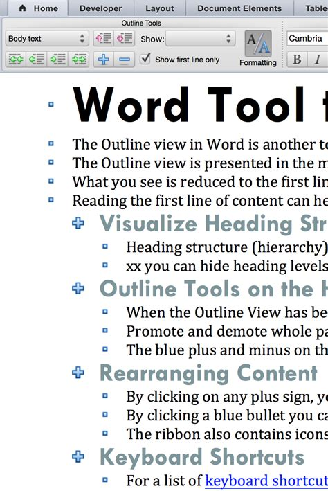 Word Outline View Keyboard Shortcuts by Right And Polo Bears Use Word S Outline View To Check Document Flow