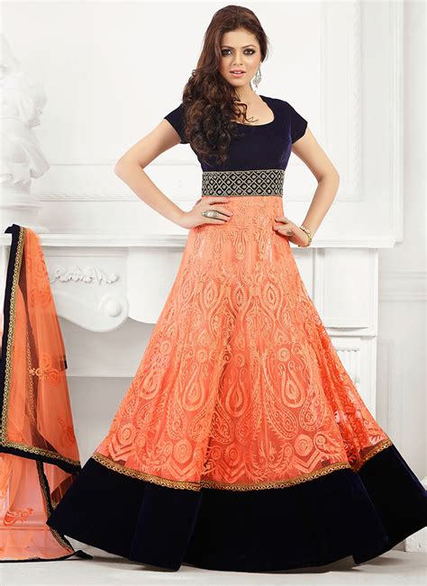 floor length anarkali lehenga shopping buy orange net madhubala floor length anarkali salwar