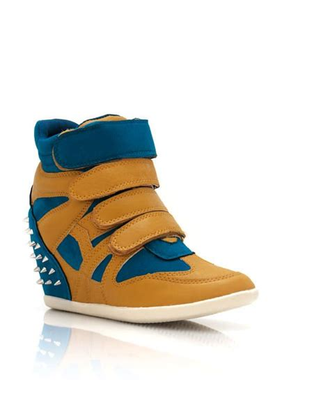 sneakers spiked wedge sneakers mustard teal size 4 sa