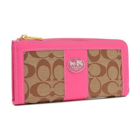 Coach Signature Pink Large discount coach legacy accordion zip in signature large pink wallets fcq discount sale coach