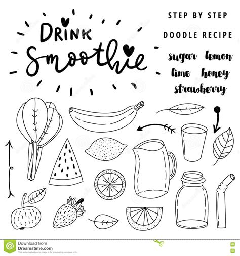 doodle recipe set of simple line vector doodle icons stock