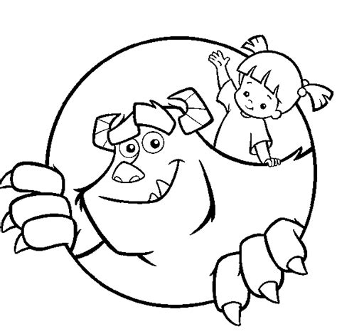 monsters inc coloring page sulley and boo all kids network