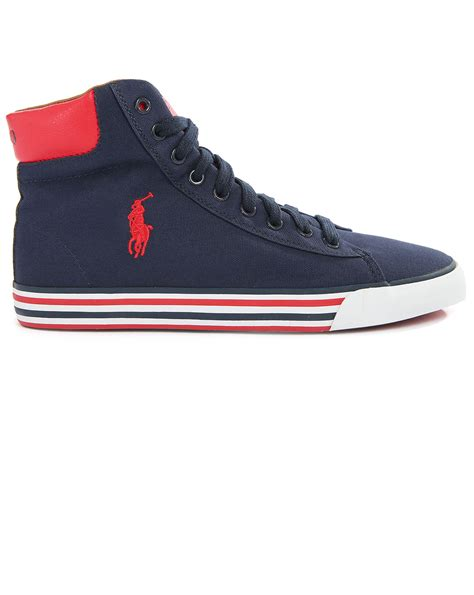 hi top canvas sneakers polo ralph navy striped sole harvey hi top canvas
