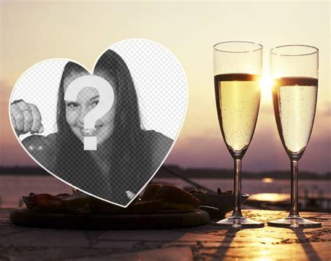 aggiungere cornice foto cornice decorativa con un cuore e due bicchieri per