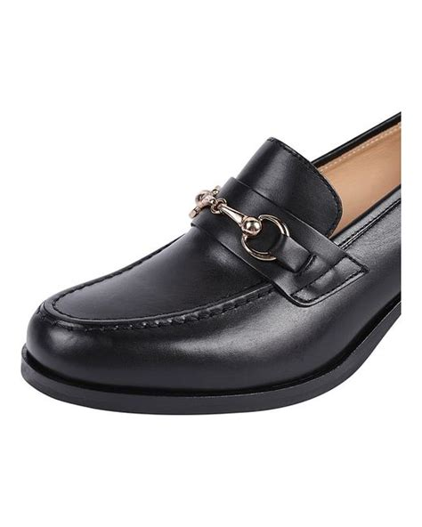 stacked heel loafer pascucci stacked heel loafer in black lyst
