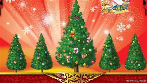 5 christmas trees wallpaper freechristmaswallpapers net