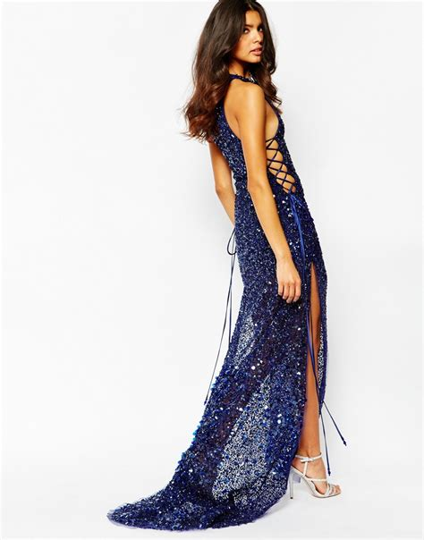 A star is born Jewel Encrusted Crepe Maxi Dress in Blue   Lyst