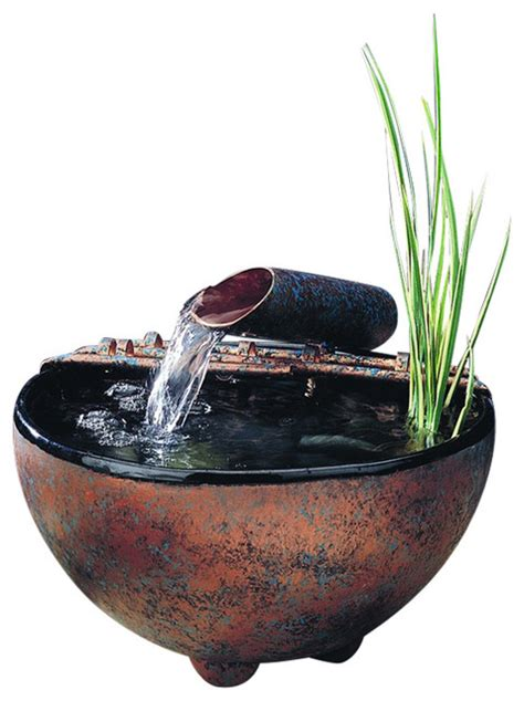 antique copper patina nature bowl water fountain rustic