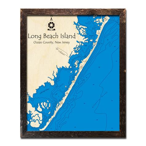 long beach island nj map  topographic wood chart