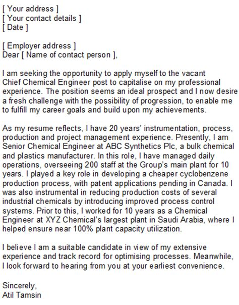 Application Letter Chemical Engineer Chemical Engineering Covering Letter Sle