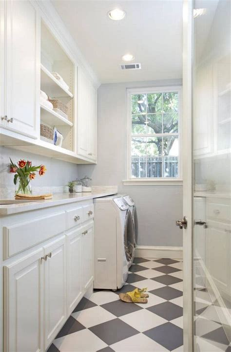 Narrow Laundry Room In White Love That Checkerboard Floor Narrow Laundry