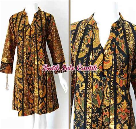 Tunik Batik Sogan Dress Wanita Batik Kantor Batik Wanita baju batik sogan model terbaru baju kerja batik