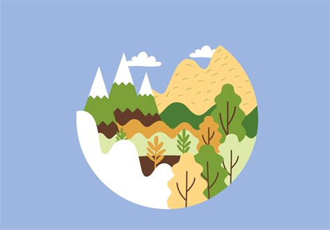 Landscape Illustration Circular Mountain Landscape Illustration Free
