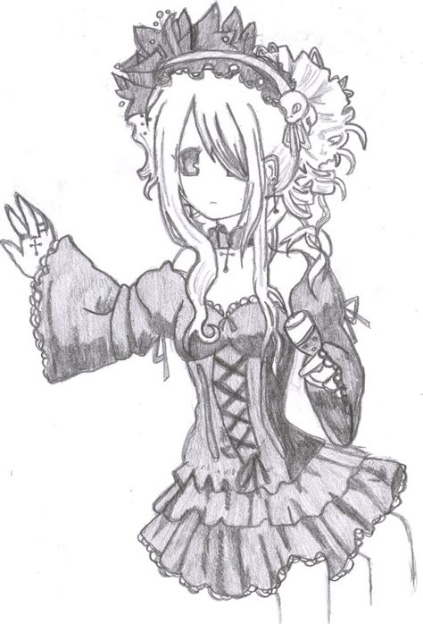 gothic anime girl coloring pages