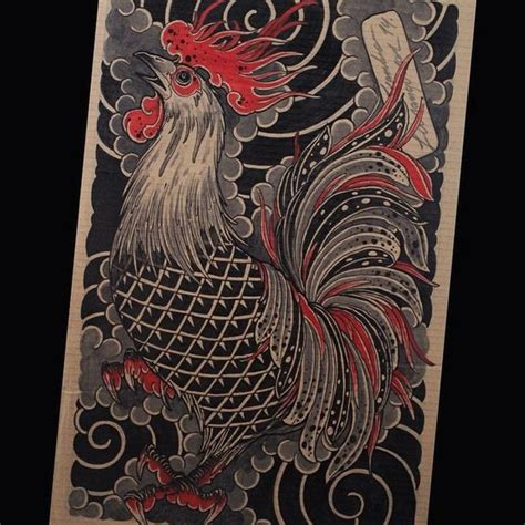 japanese smoke tattoo designs black and rooster in grey smoke design
