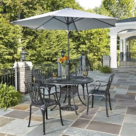 Umbrella Patio Set 6 Patio Dining Set With Umbrella In Charcoal 5560 3286