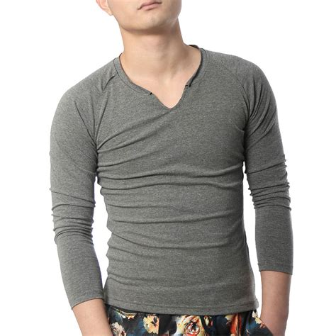 clothes design neck long sleeve t shirts men cotton designer v neck plain