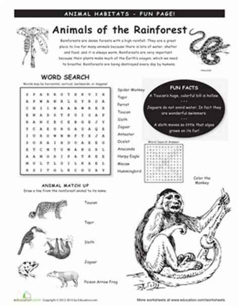 Habitats Worksheets 2nd Grade by Animal Habitats Rainforest Worksheet Education