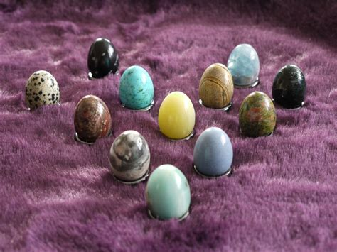 various gemstone eggs with haematite ring stand 163 2 75 each