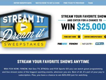 Fox 5 Sweepstakes - fox stream it and dream it sweepstakes