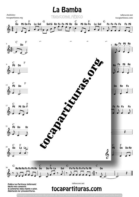La Bamba Partitura con Notas en Clave de Sol (Popular