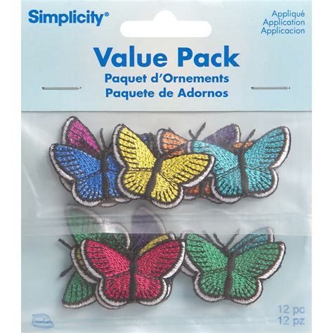 applique iron on assorted butterflies iron on applique pack 12 pcs jo