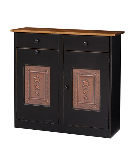 trash bin cabinet w tin amish furniture connections