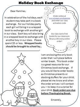card exchange letter to parents book exchange letter classroom celebrations