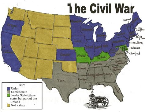 map of civil war states civil war map union and confederate states www pixshark