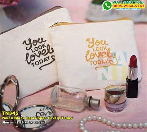 Dompet Kosmetik Kemas Sablon souvenir pouch kosmetik bahan blacu lapis busa souvenir