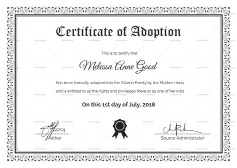 certificate of adoption template adoption certificate design template in psd word