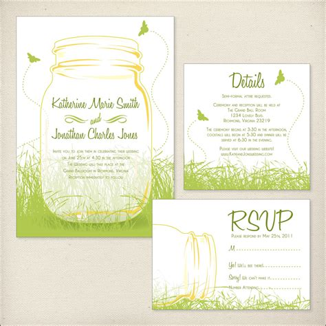 Package Wedding Invitations by Jars Wedding Invitation Package By Dreamtreedesign