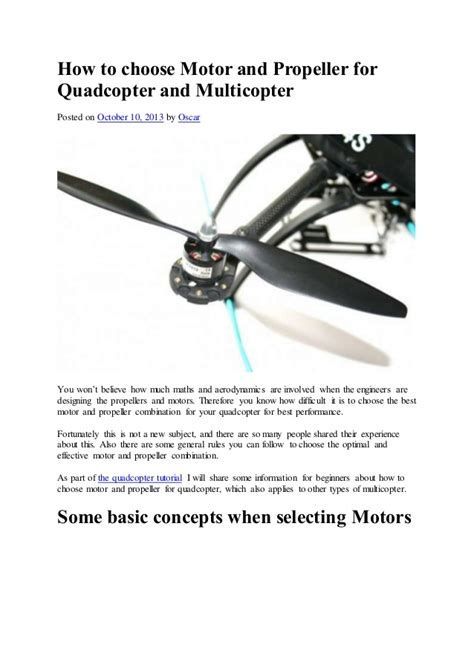 quadcopter motor and propeller how to choose motor and propeller for quadcopter and