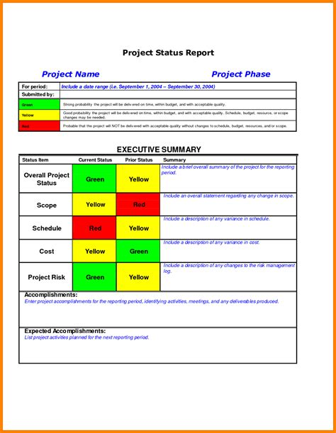 project update report template 7 project management status report template