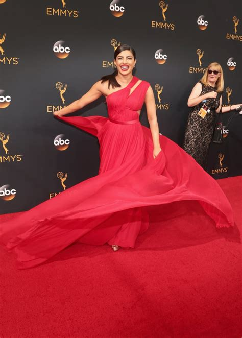 priyanka chopra at the emmy priyanka chopra s red dress at the emmys 2016 popsugar