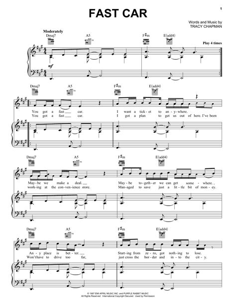 tutorial guitar fast car fast car sheet music by tracy chapman piano vocal