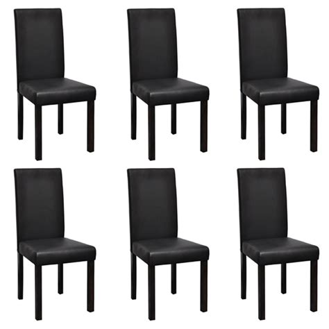 Black Dining Sets With 6 Chairs 6 Modern Artificial Leather Wooden Dining Chairs Black Vidaxl