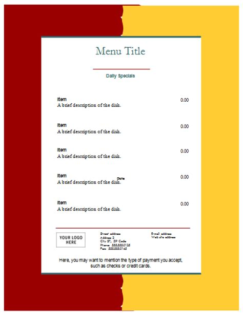 word food template food menu template an easy way to make a food menu