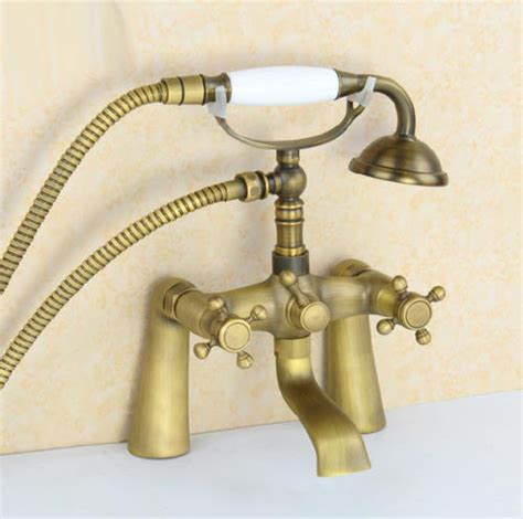 refinishing brass bathroom fixtures antique brass bathroom deck mount dual handles telephone