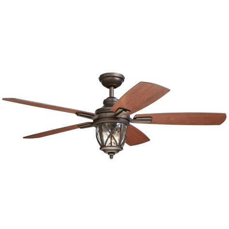 Outdoor Ceiling Fan Light Shop Allen Roth Castine 52 In Rubbed Bronze Indoor Outdoor Downrod Or Mount Ceiling Fan