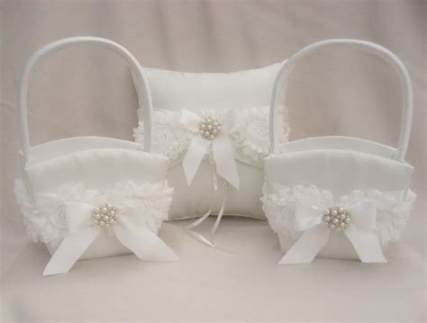 Ring Pillows And Flower Baskets two flower baskets and ring bearer pillow set flower