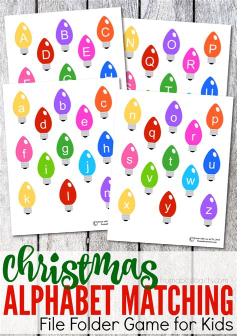 printable alphabet letters for christmas printable christmas alphabet matching file folder game